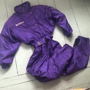 Vintage Descent one piece purple ski suit size 10